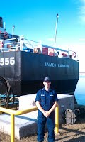 Alexandra LaRiviere with the USCGC James Rankin.