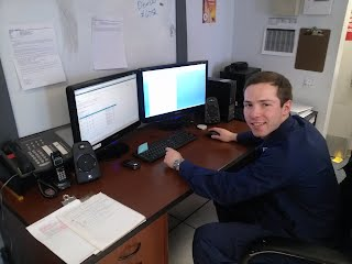 AUP student Sean Cahill works at his post at Air Station Detroit. Cahill is a senior criminal justice major at Madonna University in Michigan.