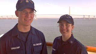 The Citadel's Will Singletary and Alexandra LaRiviere aboard the Coast Guard Cutter Dallas