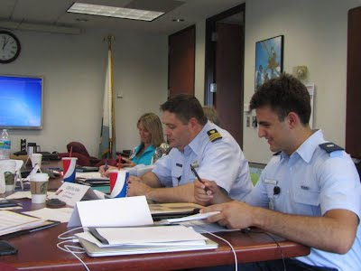 Mr. Silliman, AUP Unit W&M '15, attends a meeting of the Interagency Coordinating Committee on Oil Pollution Research at the Bureau of Safety and Environmental Enforcement, Washington, D.C. Mr. Silliman is a summer intern at Coast Guard Headquarters in Washington, D.C. U.S. Coast Guard photo.